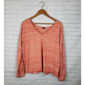 We the Free Coral Orange Striped Ruched Sweater